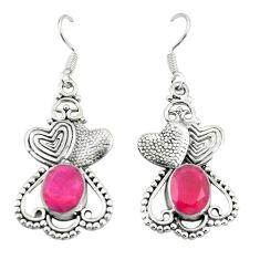 Clearance Sale- Natural red ruby 925 sterling silver couple hearts earrings jewelry d25302