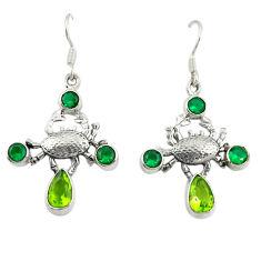 Green peridot emerald quartz 925 sterling silver crab earrings d25303
