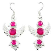 Red ruby quartz 925 sterling silver dangle earrings jewelry d25306