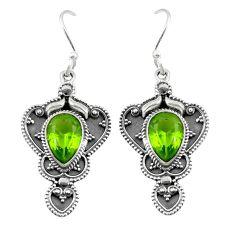 Clearance Sale- Green peridot quartz 925 sterling silver dangle earrings jewelry d25308
