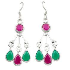 Green emerald red ruby quartz 925 silver dangle earrings jewelry d25310
