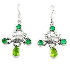 Green peridot emerald quartz 925 sterling silver crab earrings d25311