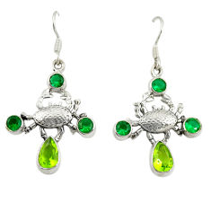 Clearance Sale- Green peridot emerald quartz 925 silver crab earrings jewelry d25312