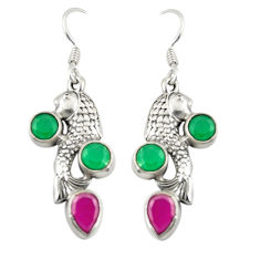 Clearance Sale- Red ruby green emerald quartz 925 sterling silver fish earrings d25315