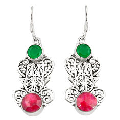 Clearance Sale- Natural red ruby emerald quartz 925 silver hand of god hamsa earrings d25324