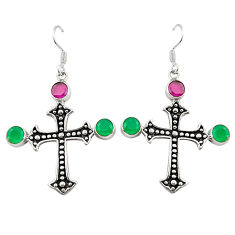 Clearance Sale- Red ruby green emerald quartz 925 silver holy cross earrings d25330