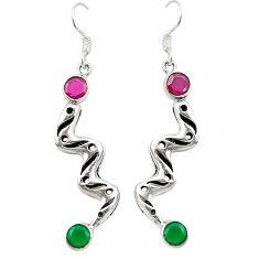 Red ruby green emerald quartz 925 silver dangle earrings d25335