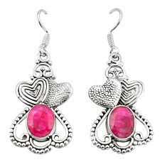 Clearance Sale- 925 sterling silver natural red ruby couple hearts earrings d25337