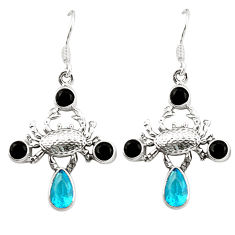 Clearance Sale- 925 sterling silver blue topaz quartz onyx crab earrings jewelry d25340