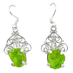 Clearance Sale- Natural green peridot rough 925 sterling silver dangle earrings d25341