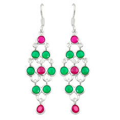 Green emerald quartz ruby quartz 925 silver dangle earrings d25343