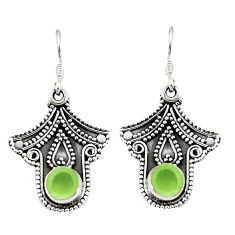 Natural green prehnite 925 sterling silver dangle earrings d25361