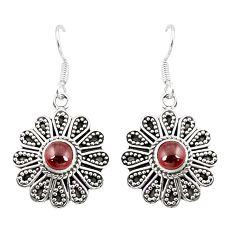 Natural red garnet 925 sterling silver dangle earrings jewelry d25364