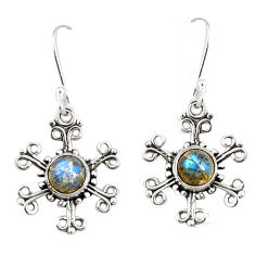 Clearance Sale- Natural blue labradorite 925 sterling silver dangle earrings d25370