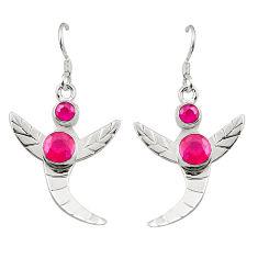 Clearance Sale- 925 sterling silver red ruby quartz dangle earrings jewelry d25371