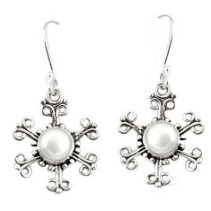 Natural white pearl 925 sterling silver dangle earrings jewelry d25375