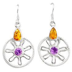 Clearance Sale- 925 silver yellow citrine quartz purple amethyst dangle earrings d25378