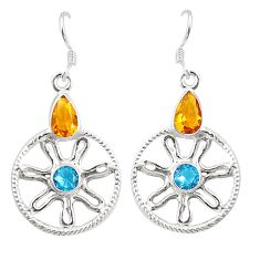 Clearance Sale- Yellow citrine quartz topaz 925 sterling silver dangle earrings jewelry d25379