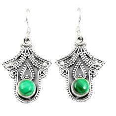 Clearance Sale- Natural green malachite (pilot's stone) 925 silver dangle earrings d25386