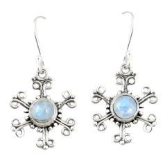 Clearance Sale- Natural rainbow moonstone 925 sterling silver dangle earrings d25391