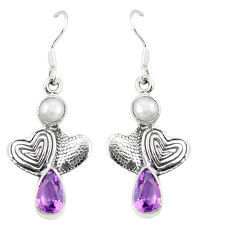 Clearance Sale- Natural purple amethyst white pearl 925 silver couple hearts earrings d25395