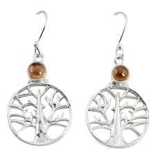 Clearance Sale- Brown smoky topaz 925 sterling silver tree of life earrings jewelry d25396