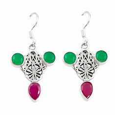 Clearance Sale- Red ruby quartz 925 silver hand of god hamsa earrings jewelry d25402