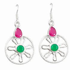 Clearance Sale- 925 silver red ruby green emerald quartz dangle earrings jewelry d25416