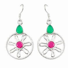 Green emerald red ruby quartz 925 silver dangle earrings jewelry d25417