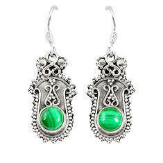 Clearance Sale- Natural green malachite (pilot's stone) 925 silver dangle earrings d25423