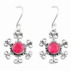 Clearance Sale- 925 sterling silver red ruby quartz dangle earrings jewelry d25424