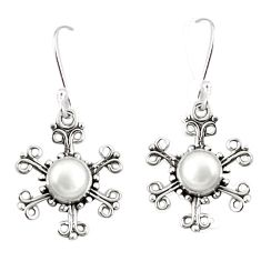 Natural white pearl 925 sterling silver dangle earrings jewelry d25430