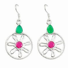 Green emerald red ruby quartz 925 silver dangle earrings jewelry d25437
