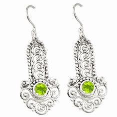 Clearance Sale- Natural green peridot 925 sterling silver dangle earrings jewelry d25465