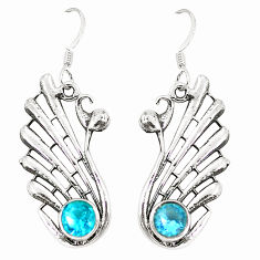 Clearance Sale- Natural blue topaz 925 sterling silver dangle earrings jewelry d25466