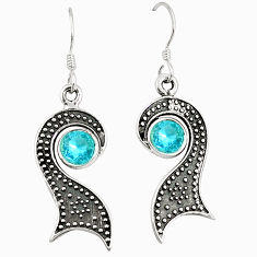 Clearance Sale- Natural blue topaz 925 sterling silver dangle earrings jewelry d25468