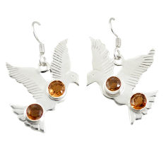 Brown smoky topaz 925 sterling silver dangle earrings jewelry d25484