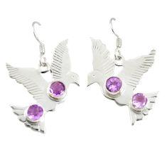 Clearance Sale- Natural purple amethyst 925 sterling silver dangle earrings d25487