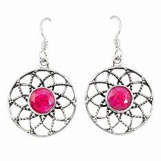 Clearance Sale- Red ruby quartz 925 sterling silver dangle earrings jewelry d25494