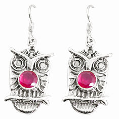 Clearance Sale- 925 sterling silver red ruby quartz dangle owl earrings jewelry d25513