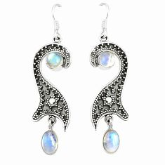 925 sterling silver natural rainbow moonstone dangle earrings jewelry d25519