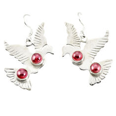 Clearance Sale- Natural red garnet 925 sterling silver dangle earrings jewelry d25523