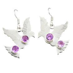 Clearance Sale- Natural purple amethyst 925 sterling silver dangle earrings d25536