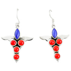 925 silver natural blue lapis lazuli red coral dangle earrings jewelry d25539