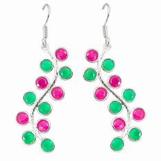 Clearance Sale- Red ruby green emerald quartz 925 silver dangle earrings jewelry d25555