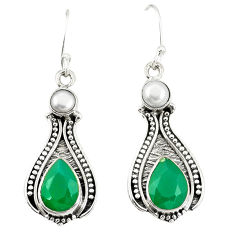 Natural green chalcedony white pearl 925 silver dangle earrings d25562