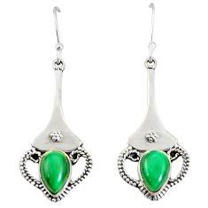 Natural green malachite (pilot's stone) 925 silver dangle earrings d25564