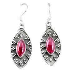 Natural red garnet 925 sterling silver dangle earrings jewelry d25580