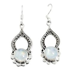 Clearance Sale- Natural rainbow moonstone 925 sterling silver earrings jewelry d25604