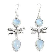 Clearance Sale- Natural rainbow moonstone 925 sterling silver dragonfly earrings jewelry d25607